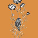 bird in wild meadow flowers on rust background by EllenLambrichts