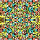 Odd funny creatures multiplying in a symmetrical pattern design by Zoo-co