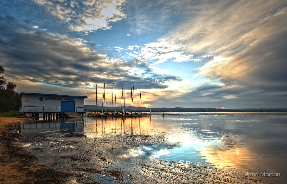Sunset at the boatshed by John Morton