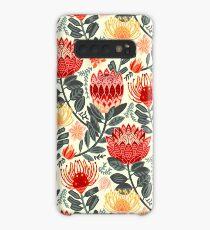 Protea Chintz - Grey & Red Case/Skin for Samsung Galaxy