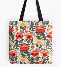Protea Chintz - Grey & Red Tote Bag