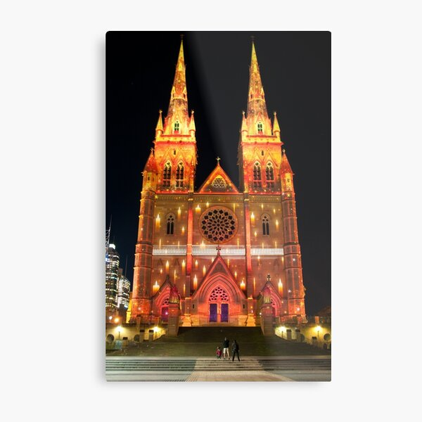 Another view of St Mary's Cathedral lit for Vivid Sydney 2010 Metal Print