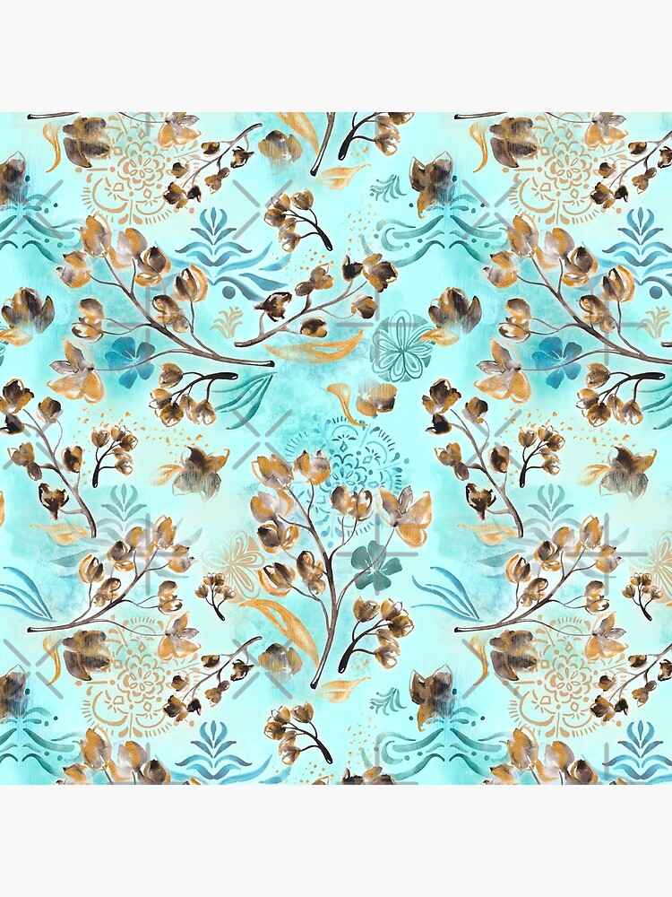 Hand-painted watercolor loose floral boho chintz in gold, blue, brown and turquoise as a seamless surface pattern design by nobelbunt