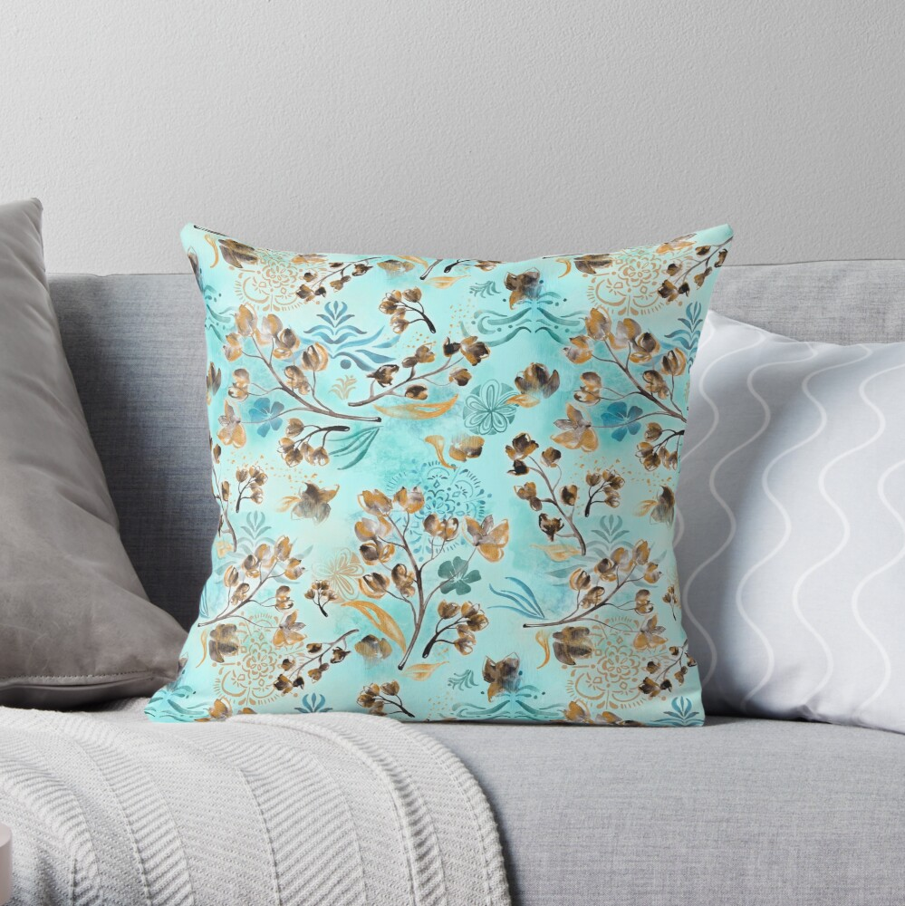 Hand-painted watercolor loose floral boho chintz in gold, blue, brown and turquoise as a seamless surface pattern design Throw Pillow