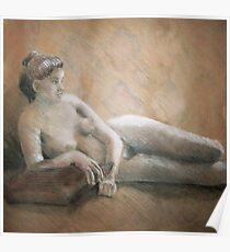 Nude Woman - Pastels and Charcoal Drawing Poster