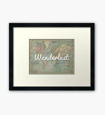 wanderlust on vintage map Framed Print