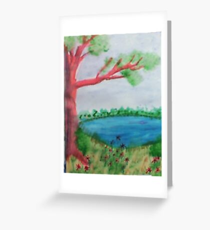 Big Tree beside  Pond,with Flowers , Watercolor Greeting Card