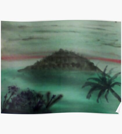 Island Poking Out of Ocean with Palm Tree  close by, watercolor Poster