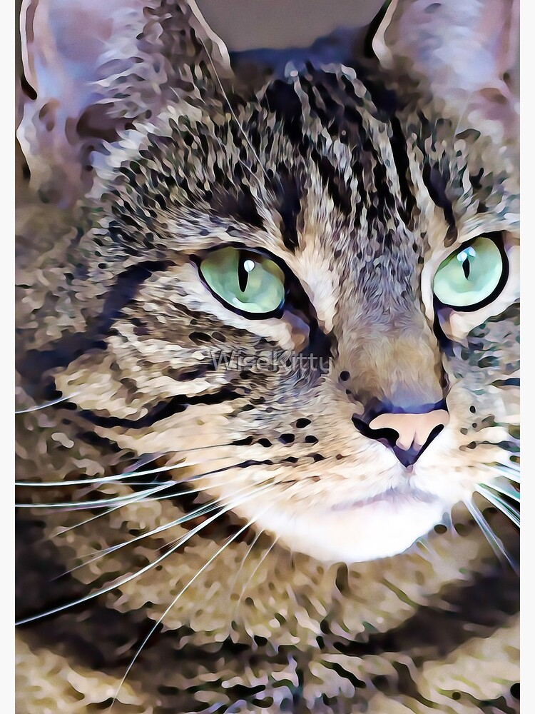 Tabby Green-Eyed Beauty Art Digital Art Painting  by WiseKitty