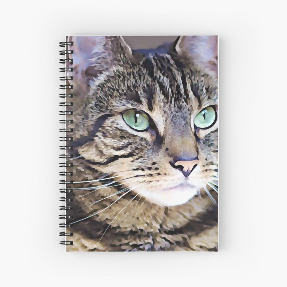 Tabby Green-Eyed Beauty Art Digital Art Painting  Spiral Notebook