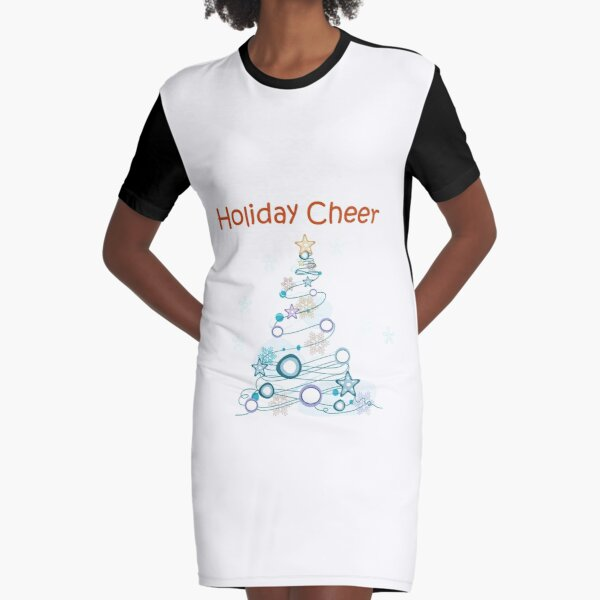 Holiday Cheer Christmas Tree Graphic T-Shirt Dress