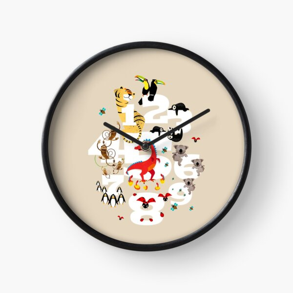 One, two, three animals for children Clock