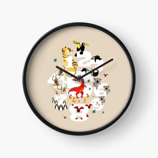 Zahlendschungel mit Tieren für Kinder Uhr