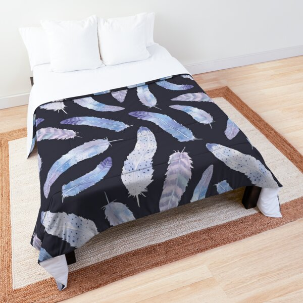 Purple and Navy Boho Feathers Comforter