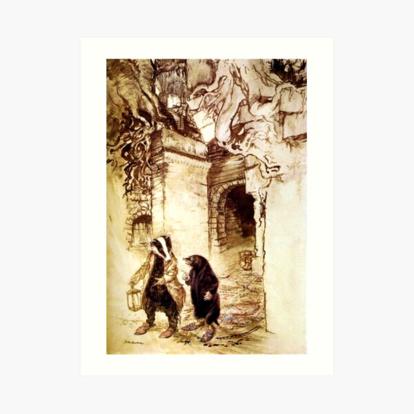 Badger and Rat in the Tunnels - The Wind in the Willows, Arthur Rackham Art Print
