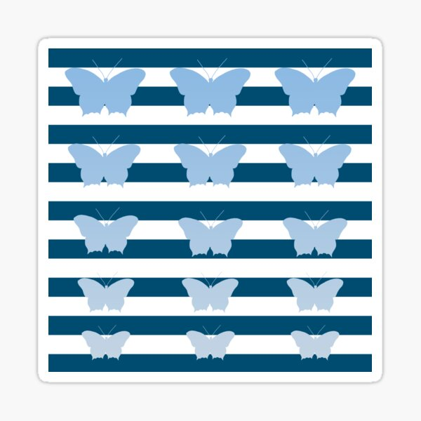 Butterflies and Stripes Pattern Teal White Blue Sticker