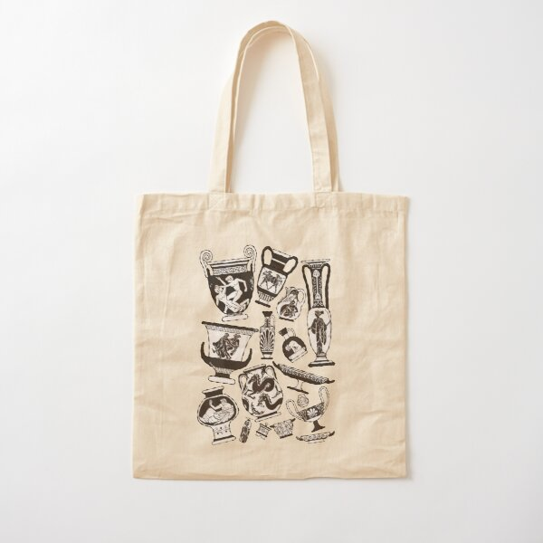 Ancient Greek Pottery - black and white Cotton Tote Bag