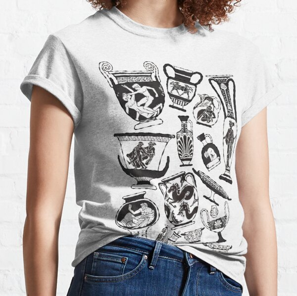 Ancient Greek Pottery - black and white Classic T-Shirt