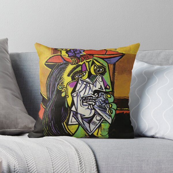 Pablo Picasso Original Fine Art The Weeping Woman Painting HD High Quality Online Store Throw Pillow