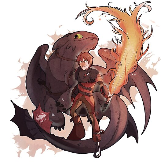 Hiccup and Toothless by Aliya and Felicia Chen