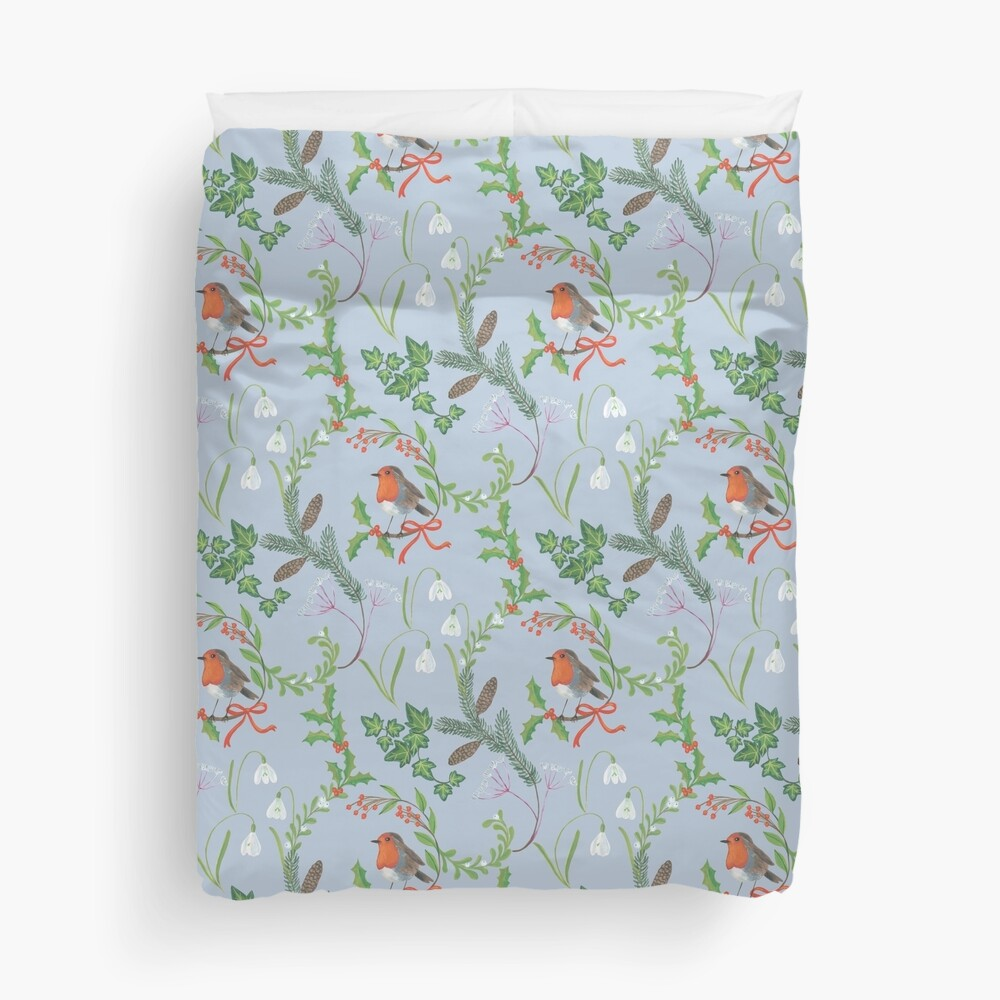 Christmas Chintz with Robin - Traditional chintz by Cecca Designs Duvet Cover