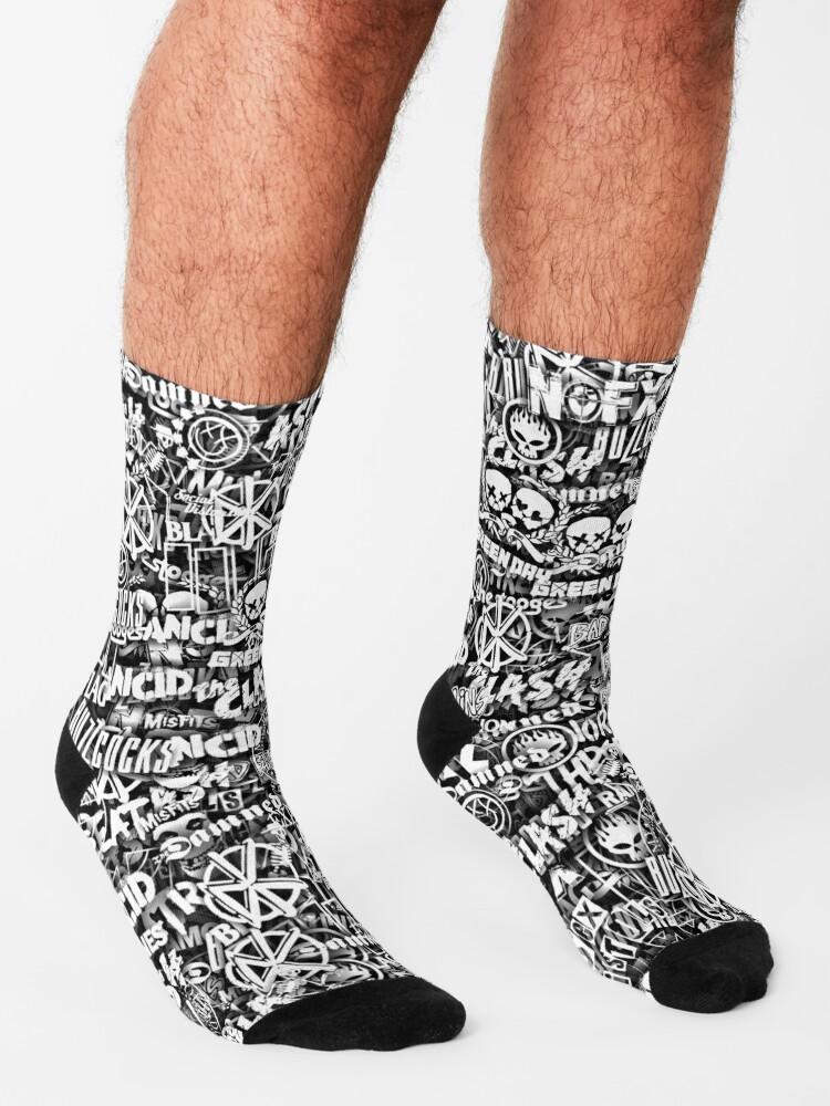 Alternate view of Punk-Rock bands. Stickerbombing Socks