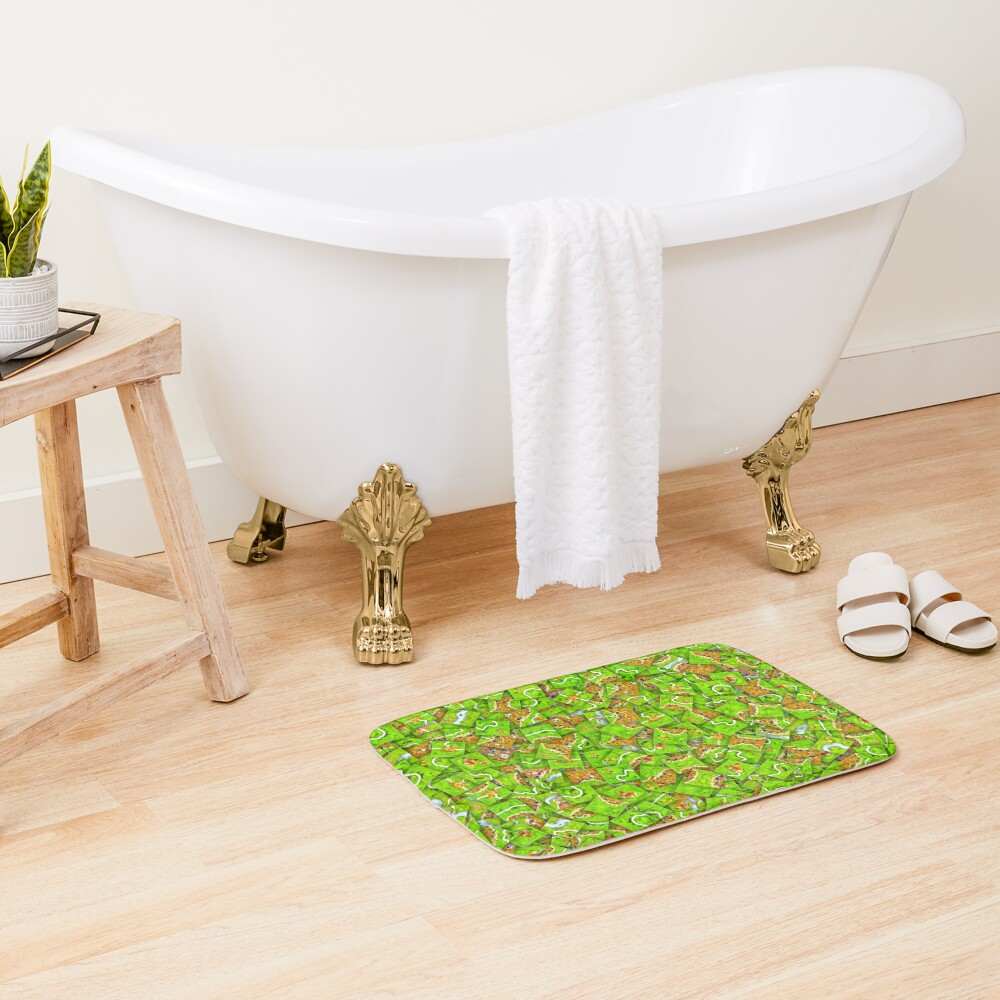 Carcassonne tiles Bath Mat