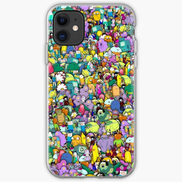 Adventure Time characters stickerbombing iPhone Soft Case