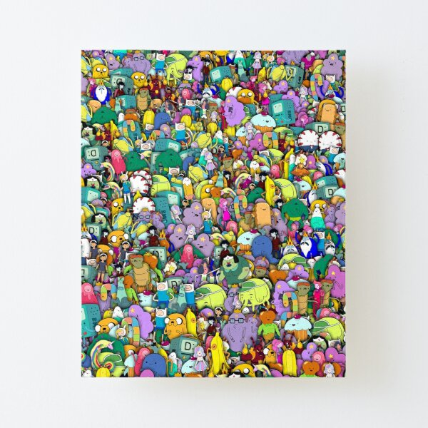 Adventure Time characters stickerbombing Canvas Mounted Print