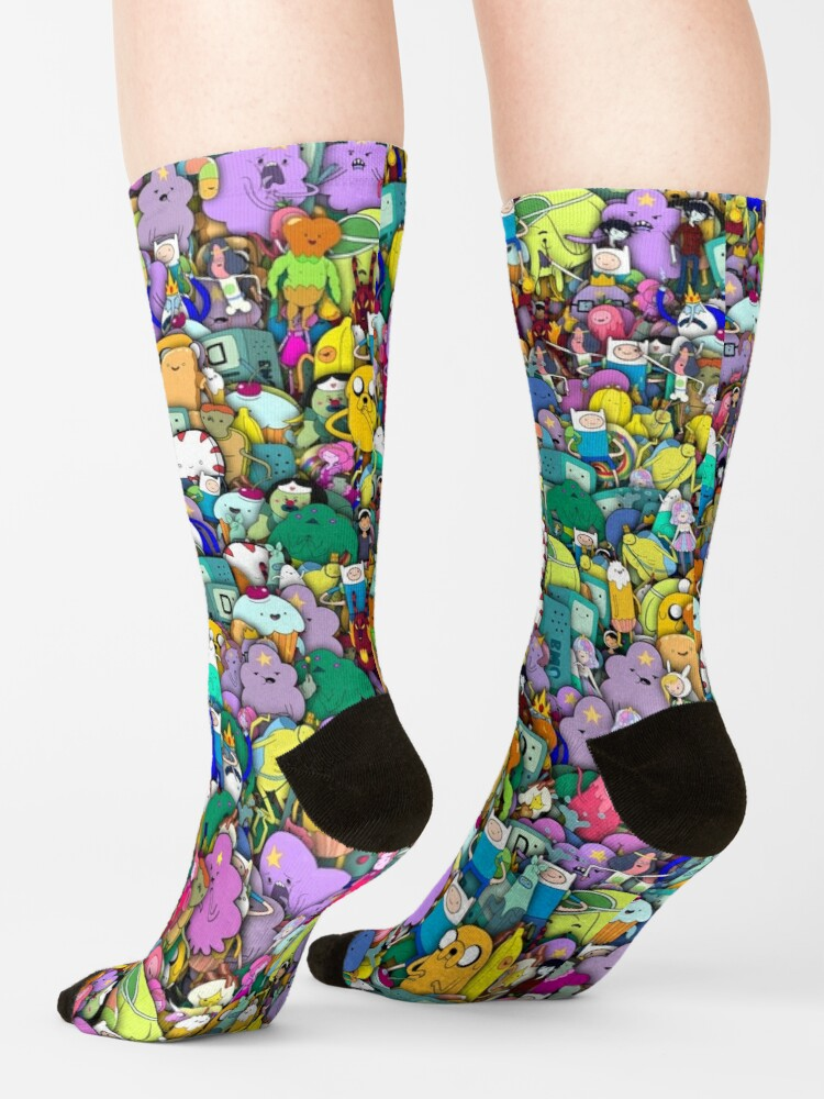 Alternate view of Adventure Time characters stickerbombing Socks