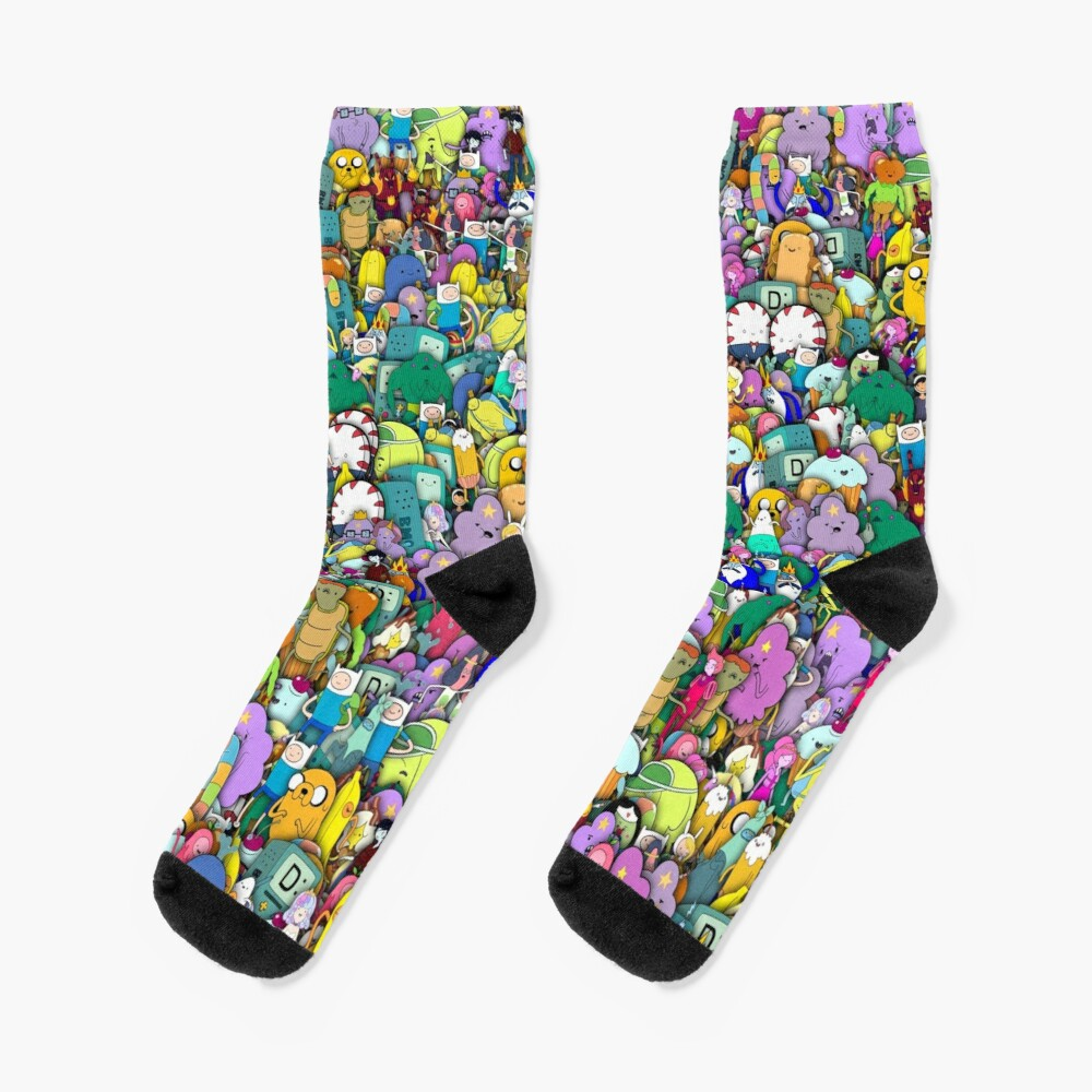 Adventure Time characters stickerbombing Socks