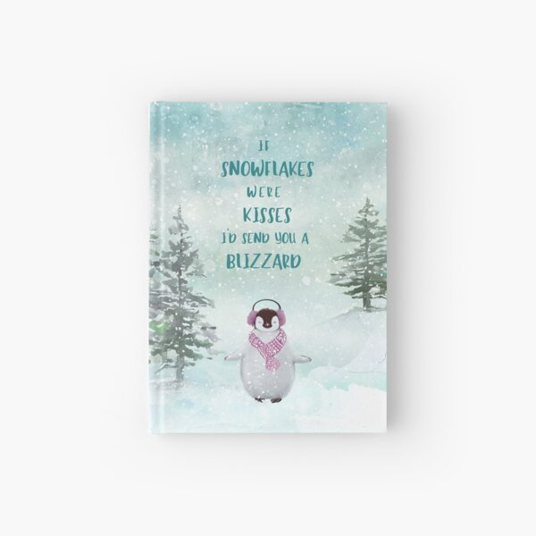 Cute penguin in the snow Hardcover Journal