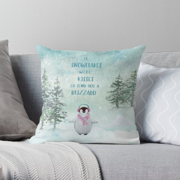 Cute penguin in the snow Throw Pillow
