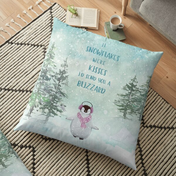 Cute penguin in the snow Floor Pillow