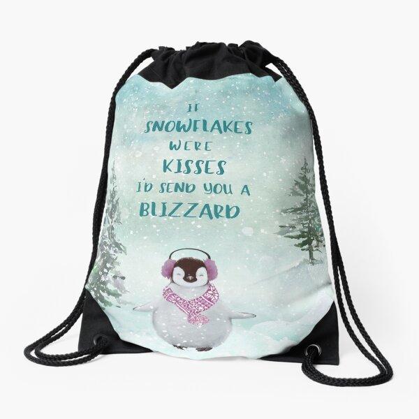 Cute penguin in the snow Drawstring Bag