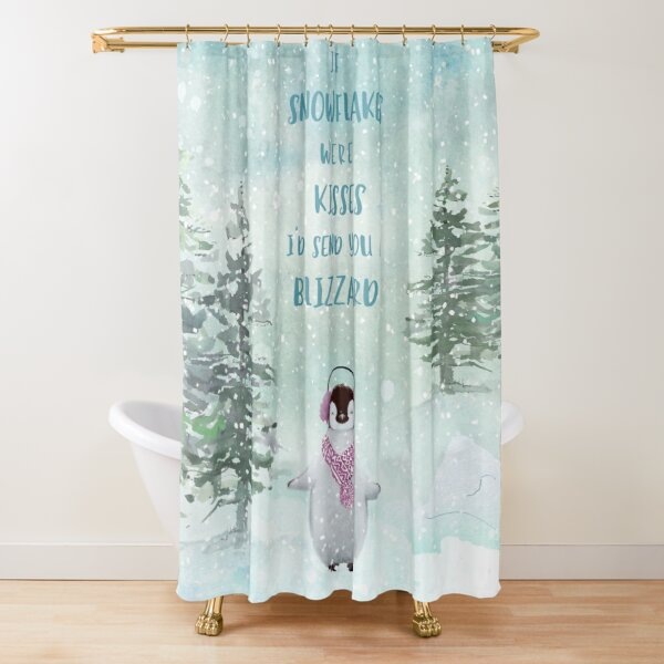 Cute penguin in the snow Shower Curtain