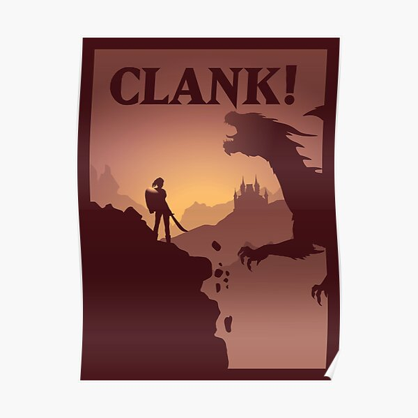 Clank Board Game- Minimalist Travel Poster Style - Gaming Art Poster