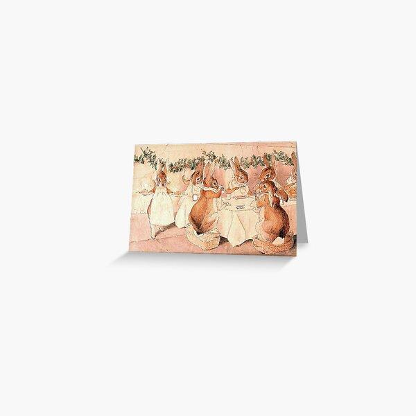 Rabbits Christmas Dinner - Beatrix Potter Greeting Card