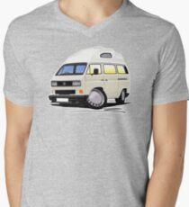 VW T25 / T3 [SQ] (High Top) White Mens V-Neck T-Shirt