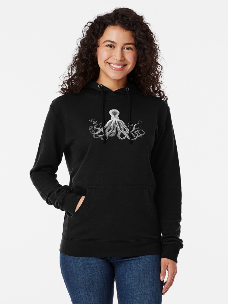 Alternate view of Octopus | Vintage Octopus | Tentacles | Sea Creatures | Nautical | Ocean | Sea | Beach | Black and White |  Lightweight Hoodie