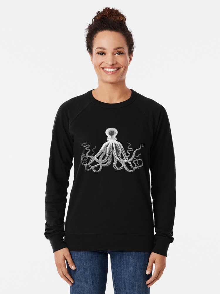 Alternate view of Octopus   Vintage Octopus   Tentacles   Sea Creatures   Nautical   Ocean   Sea   Beach   Black and White    Lightweight Sweatshirt