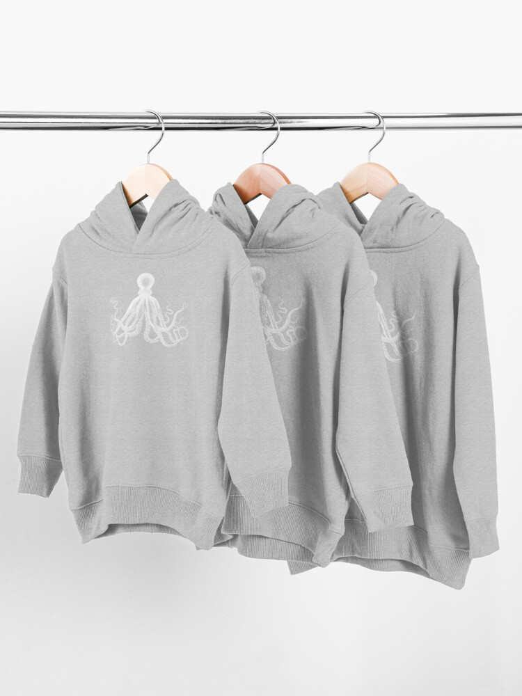 Alternate view of Octopus | Vintage Octopus | Tentacles | Sea Creatures | Nautical | Ocean | Sea | Beach | Black and White |  Toddler Pullover Hoodie
