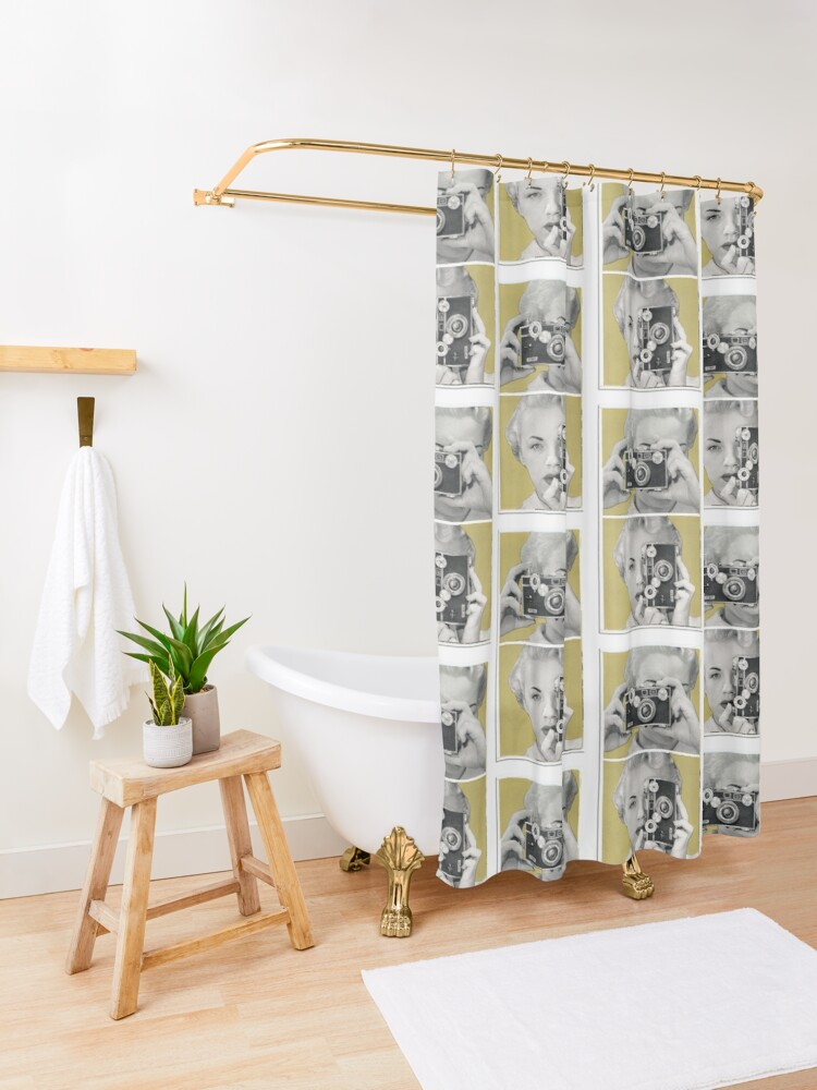 Alternate view of Woman with Argus Camera - Vintage Graphic Shower Curtain