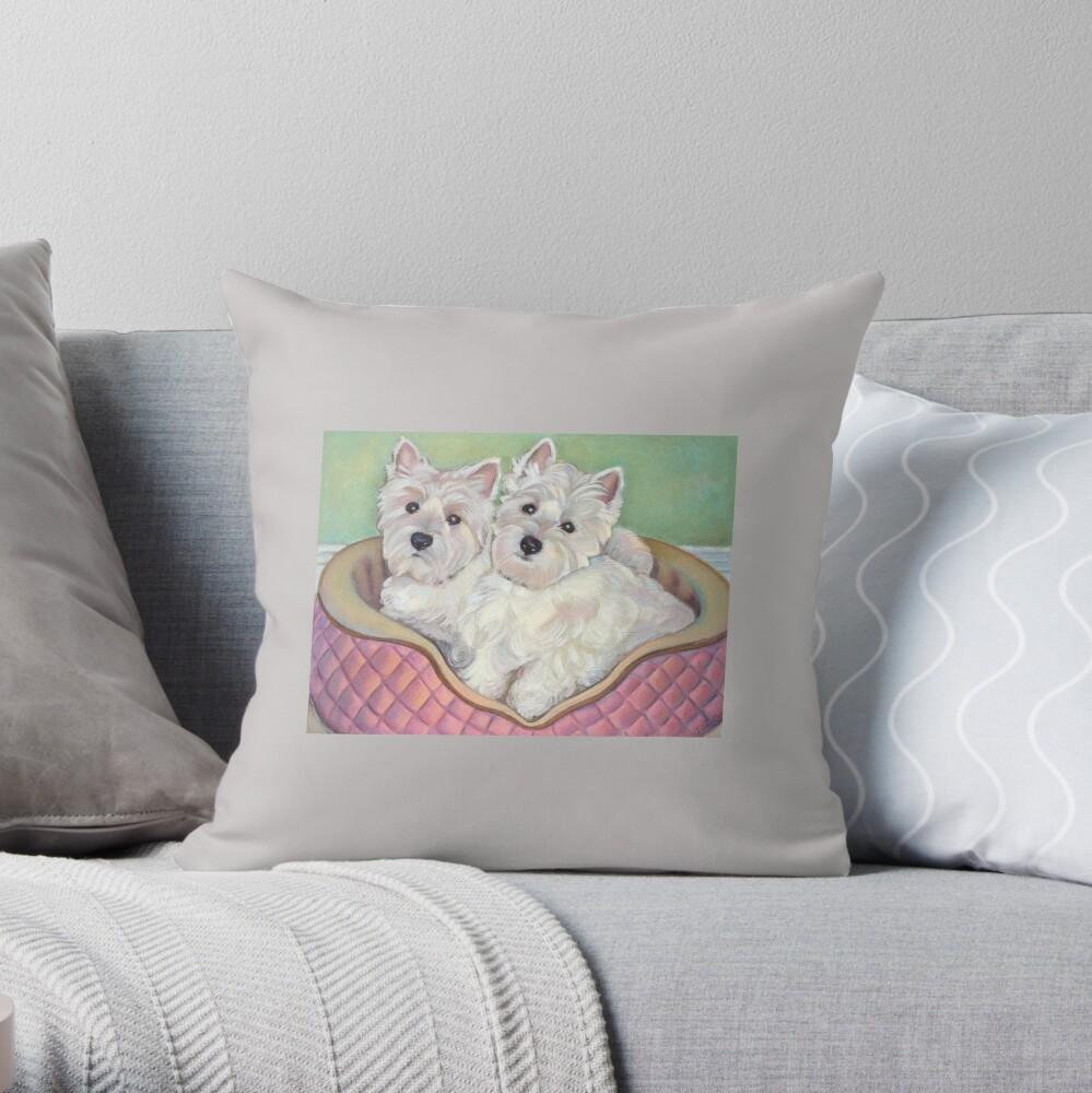 Westie Twins Throw Pillow