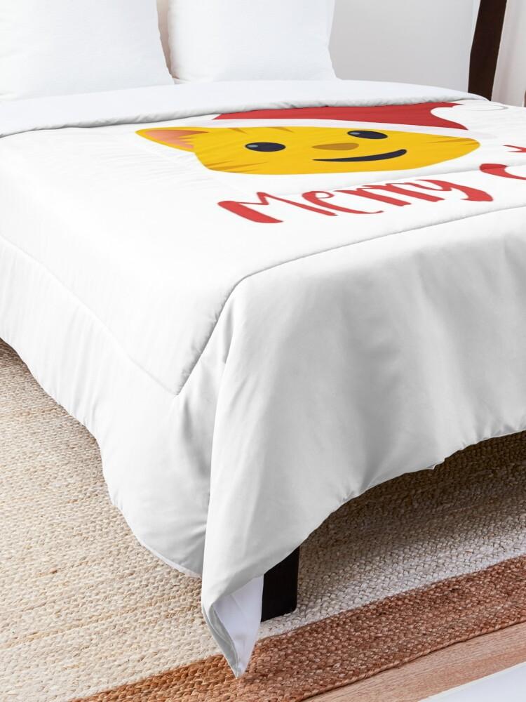 Alternate view of Merry Catmas emoji Comforter