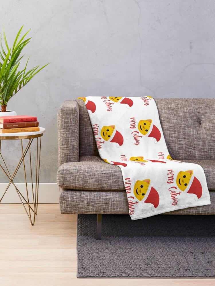 Alternate view of Merry Catmas emoji Throw Blanket