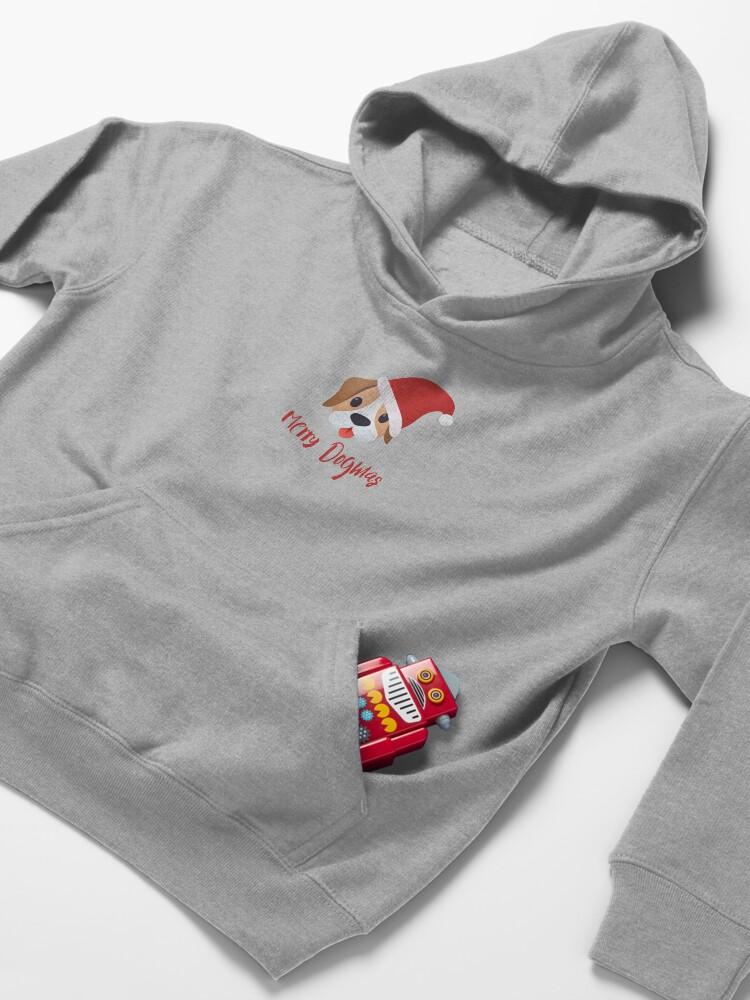 Alternate view of Merry Dogmas emoji Kids Pullover Hoodie