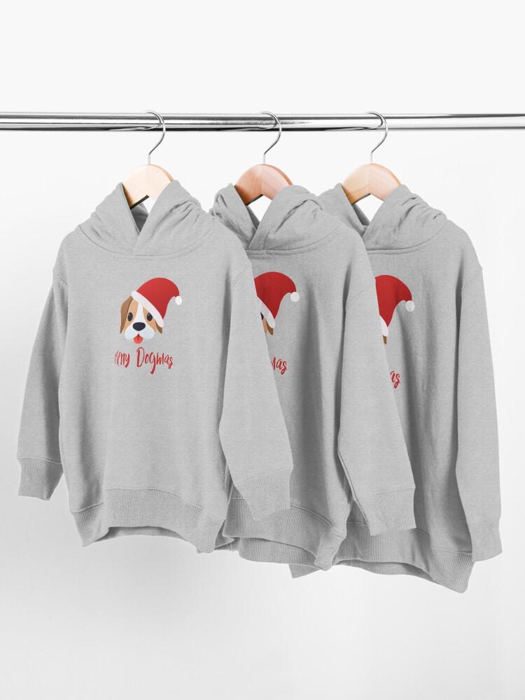 Alternate view of Merry Dogmas emoji Toddler Pullover Hoodie