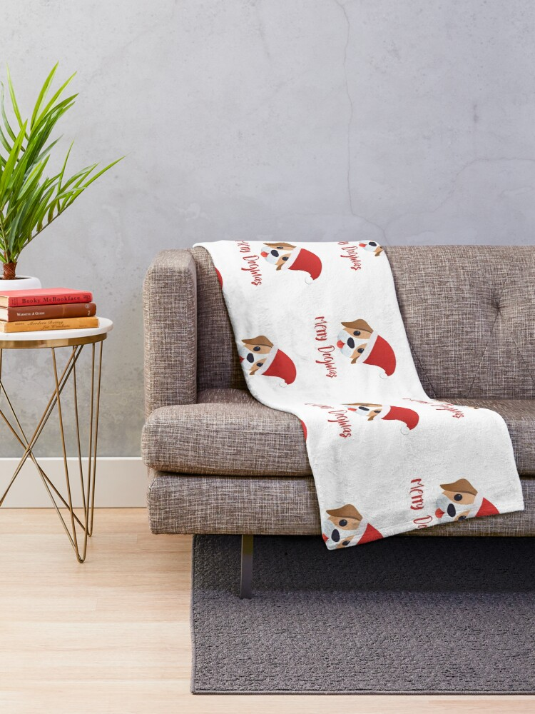Alternate view of Merry Dogmas emoji Throw Blanket