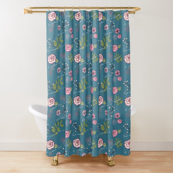 Free as a bird floral print in tide Shower Curtain